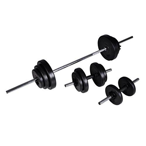 GOTOTOTOP - Set di manubri da 30,5 kg, con 1 barra per bilanciere, 2 barre per manubrio, 6 dischi da 1,25 kg, 4 dischi da 2,5 kg, 2 dischi per pesi da 5 kg