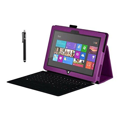 Zeadio Leder Tasche Hülle Schutzhülle Etui Hülle Cover mit Ständer für Microsoft Surface RT Tablet - Lila