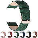 Fullmosa 6 Colores para Correa de Reloj, Cross Piel Correa Huawei Samsung Correa/Banda/Band/Pulsera/Strap de Recambio/Reemplazo 14mm 16mm 18mm 20mm 22mm 24mm,Verde Oscuro 20mm