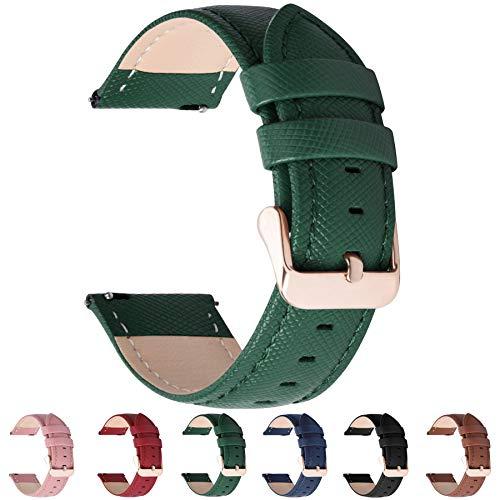 Fullmosa 6 Colores para Correa de Reloj, Cross Piel Correa Huawei Samsung Correa/Banda/Band/Pulsera/Strap de Recambio/Reemplazo 18mm 20mm 22mm 24mm,Verde Oscuro 20mm