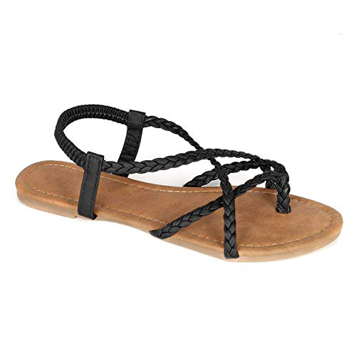 ANNA Footwear Women's Braided Strappy Gladiator Flat Sandal Y-Strap Thing Flip Flop Sandals Black, 8