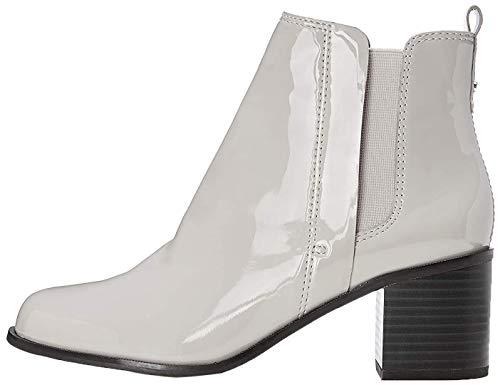 find. Ankle-Boots Damen mit Kunstleder, Schlaufe an der Ferse und Blockabsatz, Grau (LT GREY), 37 EU