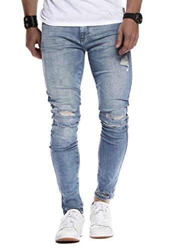 Leif Nelson Herren Jeans Hose Slim Fit Denim Blaue graue Lange Jeanshose für Männer Coole Jungen weiße Stretch Freizeithose Schwarze Cargo Chino Sommer Winter Basic LN9145 W34L32 Blau Verwaschen