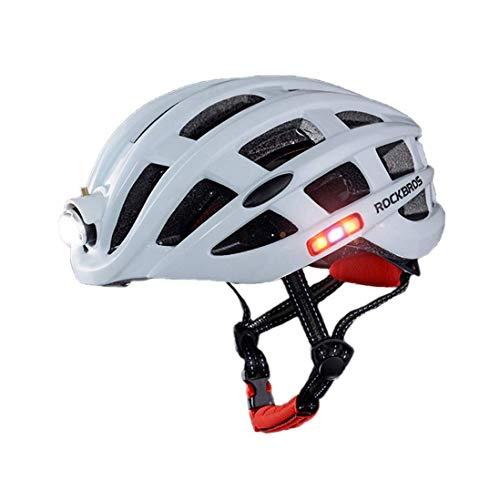 Fahrrad Fahrradhelm Unisex Fahrradhelm mit LED-Licht, Männer Frauen Jugend Ultra Adjustable, Skateboard Climb Rennen Scooter Helm motorradhelm,Weiß