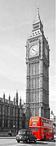 A.Monamour Türtapete Selbstklebend Türfolie Türposter 3D Das Big Ben House of Parliament Westminster Bridge London Street Vinyl Folie Türdeko Tapete Wandbild Türaufkleber Türtattoo 77 x 200 cm