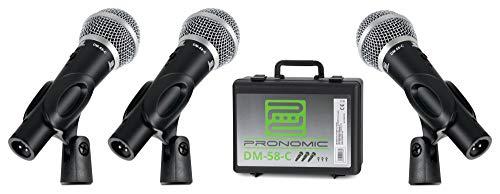 Pronomic DM-58-C Vocal Mikrofon 3er Set im Koffer - 3 dynamische Mikrofone mit Nieren-Charakteristik - Elastisch gelagerte Kapsel - Ein-/Aus-Schalter - Mikrofonklemmen - Koffer - Schwarz