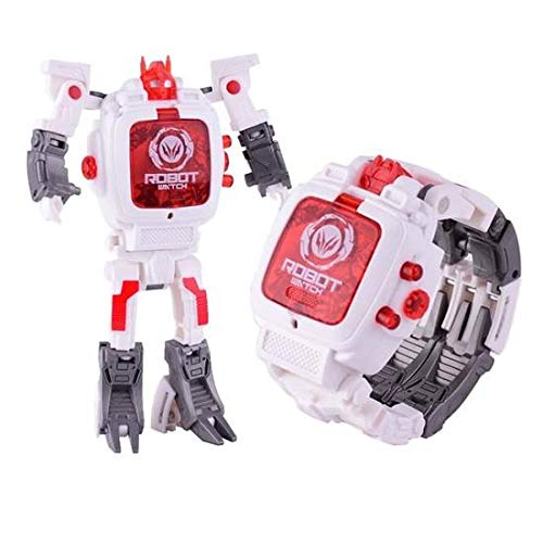 Electronic Toy Watch Transformers Robot Toys Kids 2 in 1 Electronic Transformers Toys Watch Deformed Robot Manual Children's Gift 3-6 Ages - White