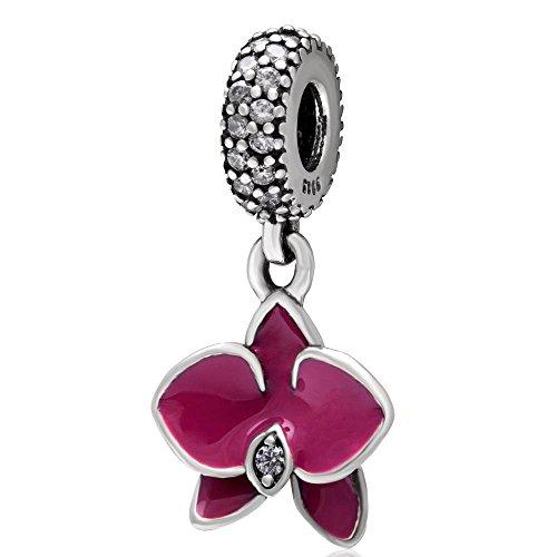 Charm a forma di orchidea in argento Sterling 925 con fiore, per anniversario, Natale, cuore, per braccialetti Pandora