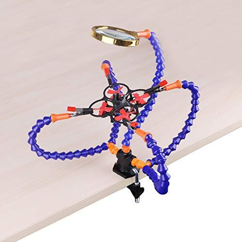 Flessibile Terza Mano Saldatura, Aiutando le Mani, Stazione di Saldatura (Clip da 5 cm, flessibile che aiuta le mani con la lente di ingrandimento 3X)