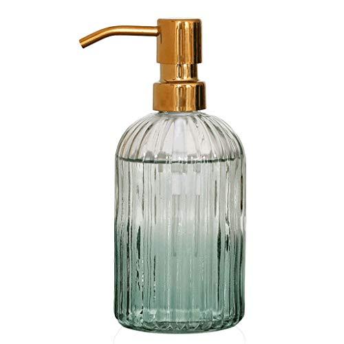 Zanzan Duschlotionsspender, 14.1OZ Seifenspender, Lotionspender aus Glas mit Edelstahl-Pumpe, nachfüllbare Flüssigseifenspender for Badezimmer-Küche Grün Seifenspender (Color : 1 Piece Set)