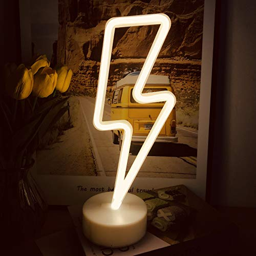 eyeJOY Neon Signs Lightning Bolt Battery USB Plug Operated Warm White Wall Light Art LED Decorative Lights with Base Stand Night Lights for Living Room Bedroom Office Christmas Wedding Party Decor