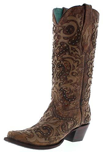 Corral Boots Dames Cowboy laarzen A3567 Cognac Western laarzen lederen laarzen bruin
