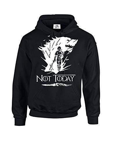 Arya Stark Not Today Pull à capuche unisexe Motif loup inspiré de Game of Thrones - Noir - moyen