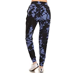 Leggings Depot JGA-R954-M Velvet Tie Dye Print Jogger Pants w/Pockets, Medium