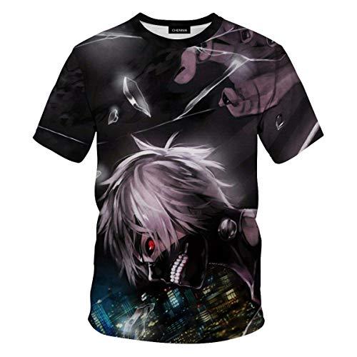 CHENMA Men Tokyo Ghoul 3D Print Short Sleeve Pullover Regular Fit T-Shirt (Color 7, S)