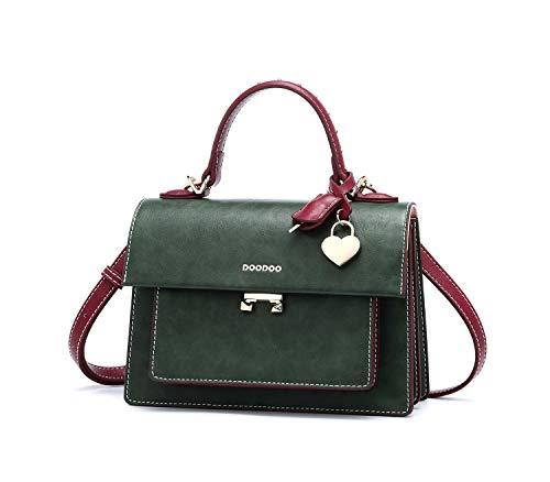 DEERWORD Damen Handtaschen Frauen Schultertaschen Umhängetaschen PU-Leder Bowlingtaschen Schwärzlich Grün