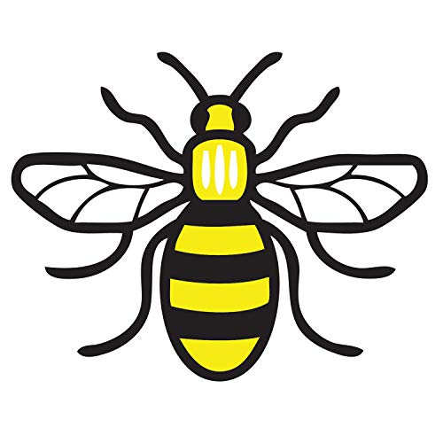 Manchester Bee Car Sticker Full Colour Manchester Worker Bee Vinyl Decal Stickers Car, Van, Laptop, Bedroom Mancunian Waterproof UV Resistant 110mm x 95mm