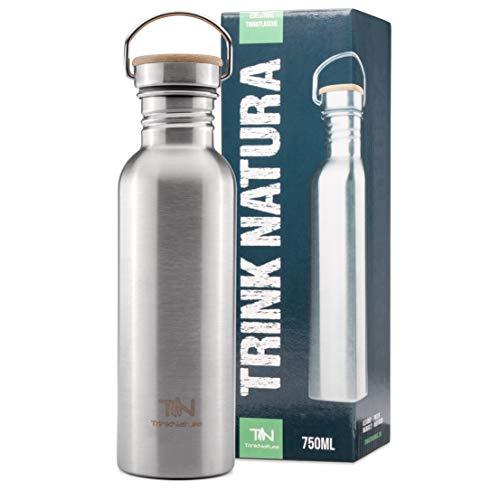 Edelstahl Trinkflasche 750ml,für Outdoor, Wandern, Trecking, Sport, Fahrradfahren, Gym auslaufsichere Trinkflasche aus Metall