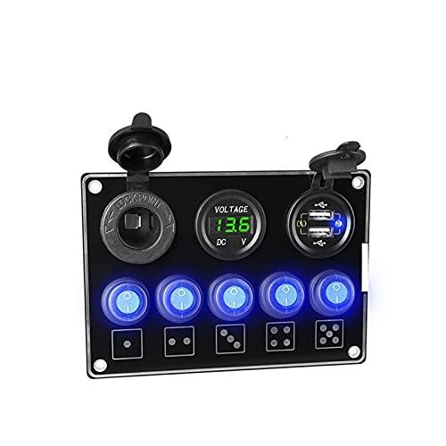ZIMEI MEIKAI Doble USB Cargador de zócalo 4.2A Voltímetro 12V Toma de Corriente 5 Gang EN- Apagado del Panel del Interruptor de la Palanca para el Barco Marino RV Camioneta (Color Name : Green QC3.0)