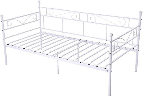 Bank-Eisen-Schlafsofa, Metallbettrahmen für Erwachsene, einfache moderne schmiedeeiserne Bettrahmen,White-Double bed