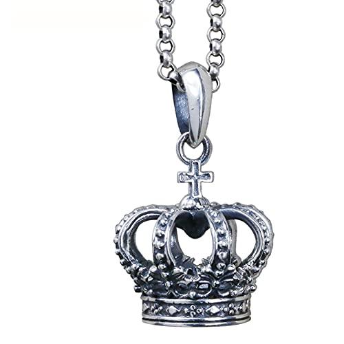 AMOZ Collar con Colgante de Corona de Rey de Plata Esterlina 925 Éxito Y Protección para Hombres,Solo Colgante