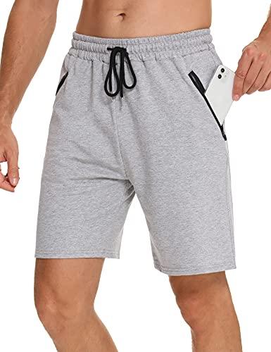 Wayleb Pantaloncini Sportivi Uomo Sportivi Shorts Leggero Shorts Palestra Corsa Calzoncini con Tasca con Cerniera, M+Grigio