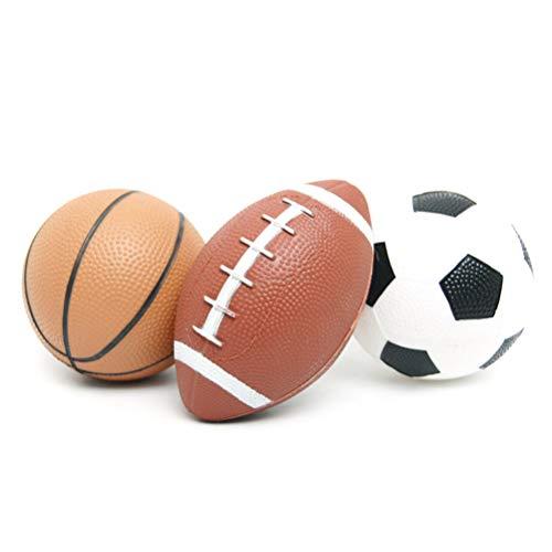 Schimer Mini Balle de Jeu de Balle de Sport, Jeu de balles de Sport pour Enfants Ballons de Basket-Ball et de Rugby Football/Jouets de Plein air Amusants