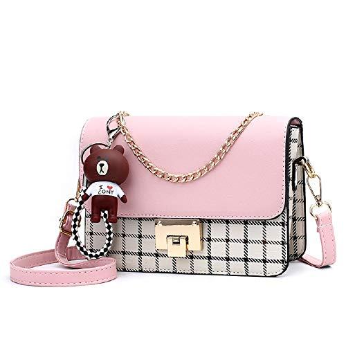 ZNYFミニショルダーバッグレディース 斜めがけ 小さめバッグ レザー かわいい 人気 小物整理 shoulder bag for women (plaid pink)