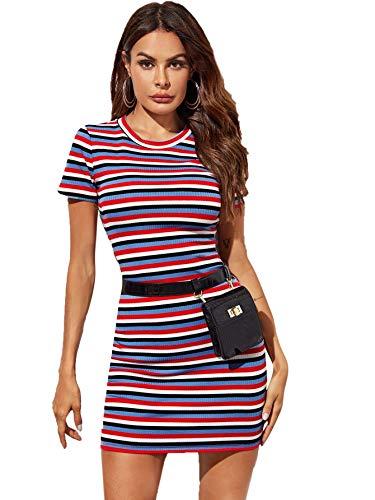 Floerns Women's Casual Short Sleeve Striped Bodycon T Shirt Short Mini Dress Multi S
