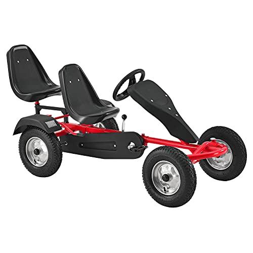 ArtSport 2-Sitzer GoKart – Tretauto für Kinder mit höhenverstellbarem Lenkrad & 2 Schalensitzen – Go-Kart mit Luftreifen & Stahl-Felgen in Rot
