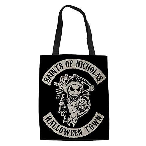 Frauen Handtasche Brieftasche Set Albtraum vor Weihnachten Gedruckte Halloween Cartoon Design Umhängetaschen-D4_49 x 29 x 39 x 11 cm