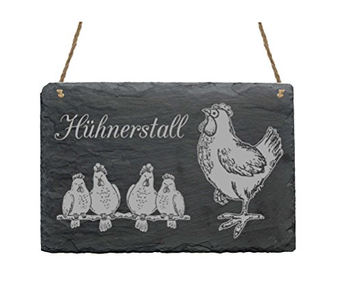 Schiefertafel Hühnerstall - wetterfestes Schild Hühner auf der Stange