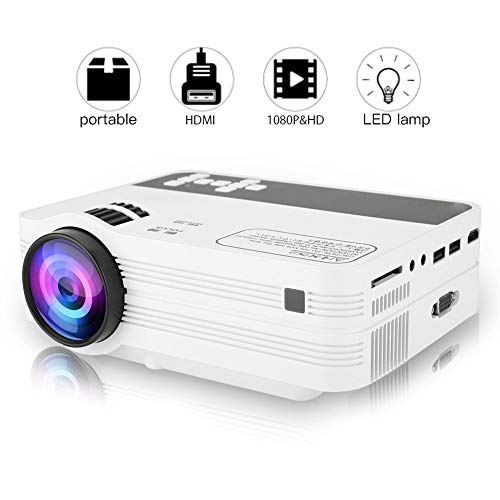 Tragbarer Mini Beamer 2000 Lumen Video Beamer WiFi Beamer Full HD 1080P Heimprojektor für Android 6.0 32-170 Zoll Projektionsgröße Bluetooth LED Android Smart Beamer für Home Office