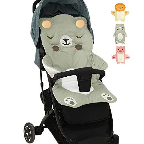 Cojín para cochecito de bebé, forro ligero para cochecito de bebé, algodón transpirable, ajuste para asiento de coche, jogger (oso)