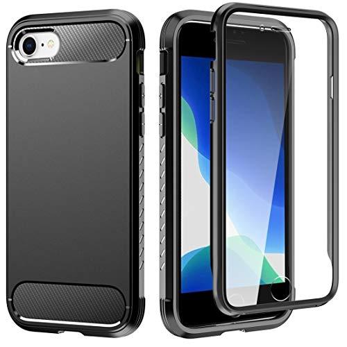 Dmtrab para Para iPhone SE 2020/8/7 TPU a Prueba de choques con Marco + Color Sólido PC Atrás Funda + Película de Pantalla Delantera (Azul Royal) (Color : Black)