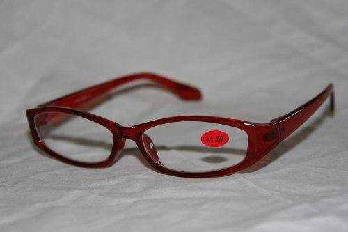Schöne Lesebrille aus Kunststoff in rot +3,0 dpt. (7610)