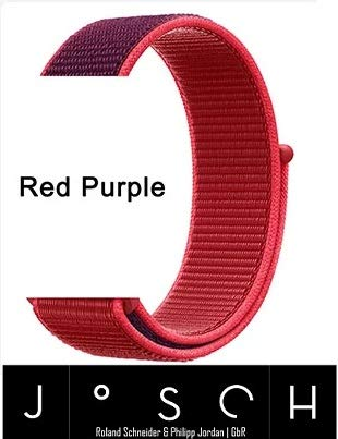 JoSch – Correa de recambio para Apple Watch Series 1/2/3/4/5 – rojo púrpura 42 / 44 mm Nylon Loop