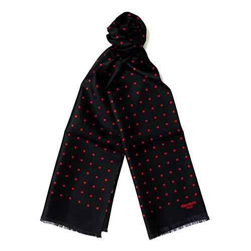Chiccheria Brand Milano Luxus Seidenschal 100% Seide Schal Scarf Silk Herrenschal edel Business Look Fashion Style Milano Herren Accessoires Luxus MADE IN ITALY (Schwarz)