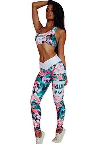 Conjuntos Deportivos Mujer Fitness Bohemio Chic Ropa de Gimnasio Chandal Dos Piezas Estampada Flores Verano Sujetador Crop Top y Pantalon Leggings Push Up Yoga Set Sportwear para Gym Running Pilates