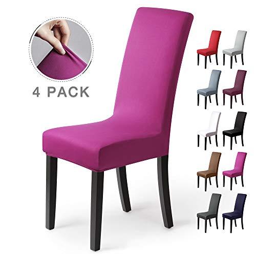 Stuhlhussen 4 Stück, Stretch-Stuhlbezug elastische moderne Husse Elasthan Stretchhusse Stuhlbezug Stuhlüberzug . bi-elastic Spannbezug, sehr pflegeleicht und langlebig Universal ( 4 Stück ,Violett)