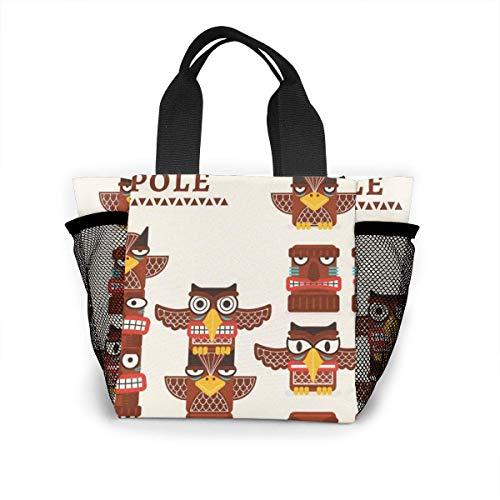 not applicable Wiederverwendbare Einkaufstasche mit Totempfahl-ClipArt Einkaufstasche aus Ripstop-Polyester oder Lunchpaket