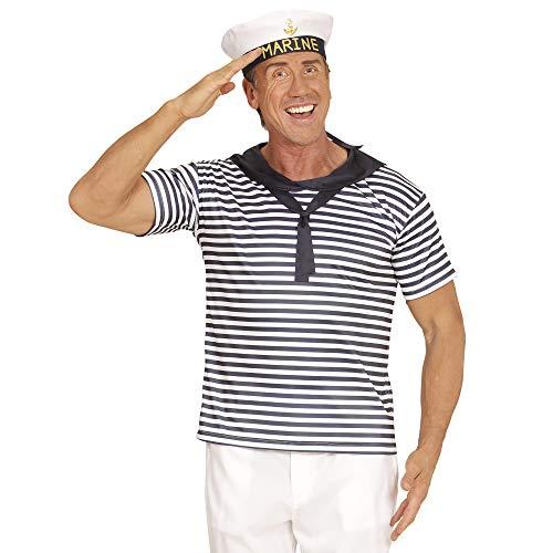 Widmann 03122 – Marine Set, Shirt und Marinehut, blau-weiß, Matrosenset, Seemannkostüm, Set, Accessoire, Zubehör, Motto Party, Junggesellenabschied, Karneval
