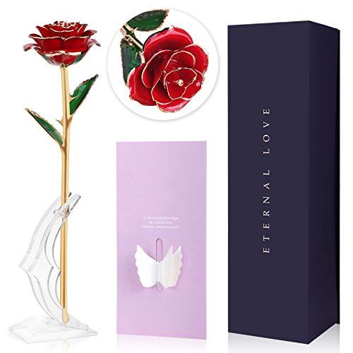 Joyhoop Rosa Eterna, Rosa Eterna Roja, Rosa Eterna Natural con Base Soporte y Tarjeta de Felicitación, Rosa de Cristal Regalos de San Valentin para Mujer, Rosa San Valentin.