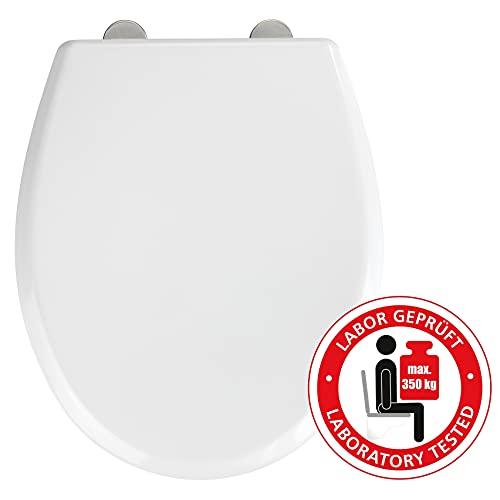 WENKO WC-Sitz Gubbio - Antibakterieller Toiletten-Sitz mit Absenkautomatik, 350 kg Belastung, Duroplast, 37 x 44.5 cm, Weiß