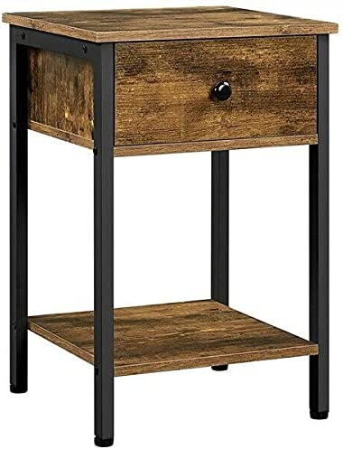 Nightstand with Recommendation Drawer Open Shelf Livi OFFicial site Industrial End Side Table