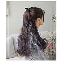 HENGTONGTONGXUN ポニーテールかつら女性の長い巻き毛、ビッグウェーブヘアひもが自然包帯女性の高い馬最終的な支払いをかつら画線 シンプルで実用的な製品 (Color : G)