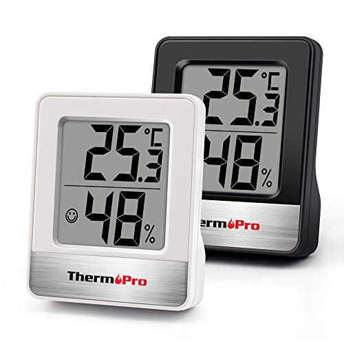 ThermoPro TP49 digitales Mini Thermo-Hygrometer 2er Set Innen Thermometer Hygrometer Temperatur und Luftfeuchtigkeitmessgerät mit Raumklima-Indikator für Raumklimakontrolle, Schwarz+Weiß