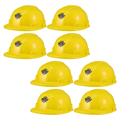 Kisangel 8 Piezas Nios Amarillo Sombrero de Construccin de Plstico para Nios Casco de Juguete para Trabajadores de La Construccin para Nios Disfraz de Ingeniero de Fiesta Tapa de