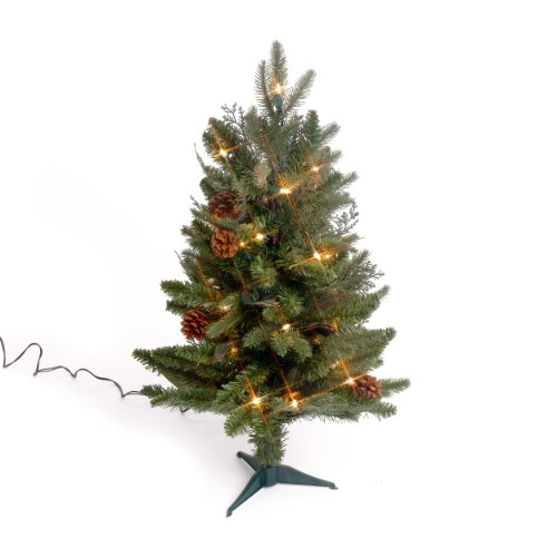 Bethlehem Lighting GKI 2-Foot Green River Spruce Christmas Tree Pre-lit with 35 Clear Mini on a Plastic Tree Stand