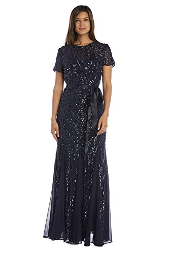 R&M Richards Women's One Piece Short Sleeve Embelished Sequins Gown,...
